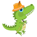 Fumetto del dinosauro in cappello Fotografie Stock Libere da Diritti