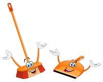 Fumetto del dustpan e della scopa Immagine Stock