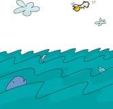Fumetto del fondo dell'oceano Fotografie Stock Libere da Diritti