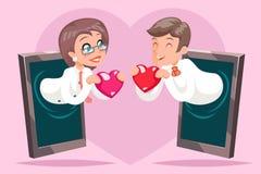 Fumetto del fondo del telefono cellulare del cuore di Hold Greeting Love dell'uomo d'affari della donna di affari di Valentin Day Immagini Stock Libere da Diritti