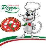 Fumetto del gatto del cuoco unico con pizza Fotografie Stock