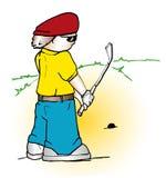 Fumetto del giocatore di golf fotografia stock libera da diritti