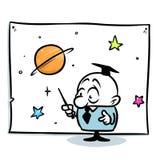 Fumetto del grafico di stella di conferenza dell'astronomo di professore dell'illustrazione di minimalismo immagine stock libera da diritti