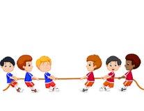 Fumetto del gruppo dei bambini che giocano conflitto Fotografie Stock