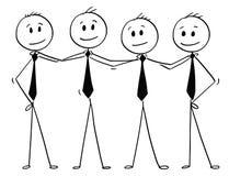 Fumetto del gruppo della gente di affari che sta e che tiene le spalle illustrazione vettoriale