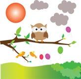 Fumetto del gufo sull'albero Fotografia Stock