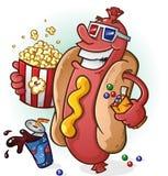 Fumetto del hot dog ai film Fotografie Stock Libere da Diritti