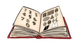 Fumetto del libro aperto con i numeri e le forme isolato sulla parte posteriore di bianco royalty illustrazione gratis