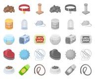 Fumetto del negozio di animali, mono icone nella raccolta stabilita per progettazione Le merci per gli animali vector l'illustraz illustrazione di stock