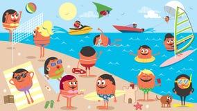 Fumetto del paesaggio della spiaggia Immagini Stock