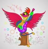 Fumetto del pappagallo di canto per i libri illustrazione di stock