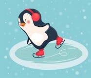 Fumetto del pattinatore del pinguino Fotografie Stock