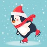 Fumetto del pattinatore del pinguino Immagini Stock