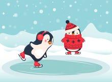 Fumetto del pattinatore del pinguino Immagine Stock Libera da Diritti