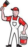 Fumetto del pennello di Holding Paint Can dell'imbianchino Immagine Stock