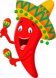 Fumetto del peperoncino rosso che gioca i maracas Immagini Stock