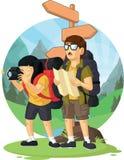 Fumetto del ragazzo & della ragazza di viaggiatore con zaino e sacco a pelo che godono della vacanza Fotografie Stock Libere da Diritti
