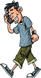 Fumetto del ragazzo teenager che comunica su suo Immagini Stock