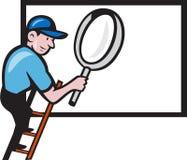Fumetto del tabellone per le affissioni della lente d'ingrandimento della scala del lavoratore royalty illustrazione gratis