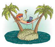 Fumetto del villaggio globale con l'adolescente soddisfatto su islan abbandonato Immagini Stock Libere da Diritti