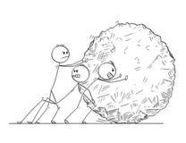Fumetto dell'affare Team Pushing Big Stone Ball Illustrazione di Stock