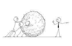 Fumetto dell'affare Team Pushing Big Stone Ball con il responsabile Giving Orders Illustrazione Vettoriale