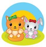 Fumetto dell'animale della volpe e del coniglietto Illustrazione per i bambini Immagini Stock
