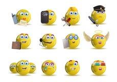 fumetto dell'avatar dell'icona di sorriso di giallo di occupazione di varietà Fotografie Stock