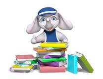 Fumetto dell'elefante e pile di libri, mostranti segno fresco illustrazione vettoriale