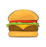 Fumetto dell'hamburger Fotografie Stock Libere da Diritti
