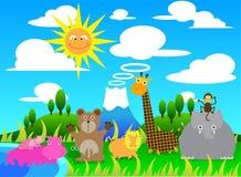 Fumetto dell'illustrazione della scena con il gruppo di animali selvatici royalty illustrazione gratis