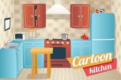 Fumetto dell'interno degli accessori della mobilia della cucina Fotografia Stock Libera da Diritti