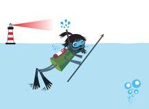 Fumetto dell'operatore subacqueo con il faro Immagini Stock Libere da Diritti