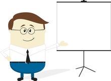 Fumetto dell'uomo d'affari con il grafico di vibrazione in bianco Immagini Stock Libere da Diritti