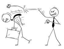 Fumetto dell'uomo d'affari Throwing Paper Balls su un altro uomo Immagini Stock