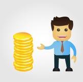Fumetto dell'uomo di affari con la pila di oro Fotografia Stock Libera da Diritti