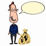 Fumetto dell'uomo di affari e soldi e parlare immagini stock