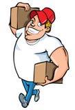 Fumetto dell'uomo di consegna corpulento Immagine Stock Libera da Diritti