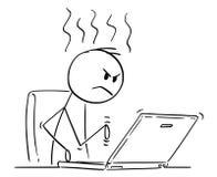 Fumetto dell'uomo o dell'uomo d'affari arrabbiato Working o scrivere sul computer portatile del computer royalty illustrazione gratis