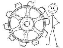 Fumetto dell'uomo o uomo d'affari Holding Big Cogwheel o ruota dentata illustrazione di stock
