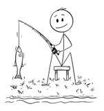 Fumetto dell'uomo o del pescatore Fishing sulla riva del lago o del fiume che pesca un pesce Fotografia Stock Libera da Diritti