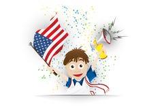 Fumetto della bandiera del fan di calcio di U.S.A. Fotografia Stock Libera da Diritti