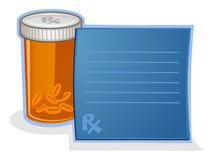 Fumetto della bottiglia di pillola del farmaco da vendere su ricetta medica Immagini Stock Libere da Diritti