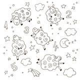 Fumetto della buona notte messo per i bambini Agnelli svegli di scarabocchio disegnato a mano con i numeri, le nuvole, le stelle  fotografia stock
