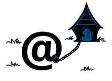 Fumetto della cabina della catena della posta del cane del email Immagini Stock