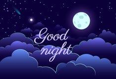 Fumetto della carta della stella della luna di progettazione di arte del cielo notturno Immagini Stock
