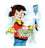 Fumetto della colapasta della pasta del ragazzo del cuoco unico Immagini Stock