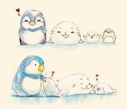 Fumetto della famiglia della guarnizione e del pinguino Immagini Stock Libere da Diritti