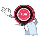 Fumetto della mascotte della moneta di FunFair del cameriere illustrazione di stock