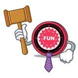 Fumetto della mascotte della moneta di FunFair del giudice illustrazione di stock